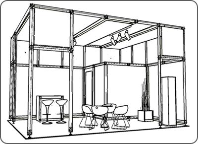 Messedesign Entwurfsskizze