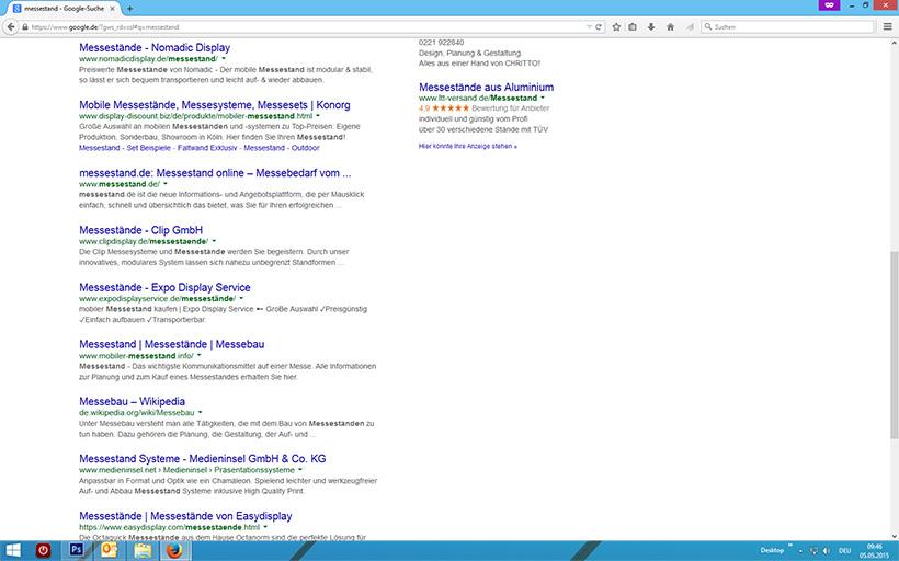 Suchergebnis Messestand auf Google mit scrollen