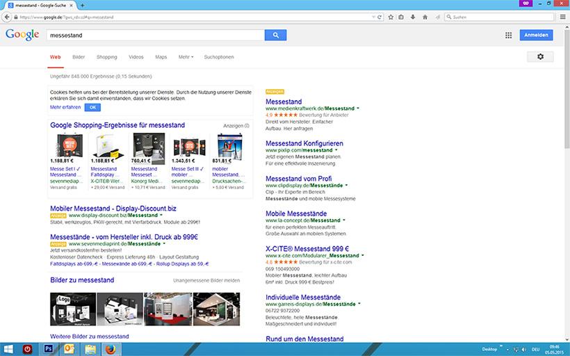 Suchergebnis Messestand auf Google ohne scrollen