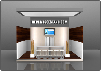 exhibition stand construction with wood and metal
