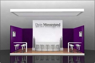 Messestand mit Laminatboden und abgehängter Decke Berlin