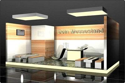 Mesestand im Loungestil mit Leuchtelementen und Podestboden Düsseldorf