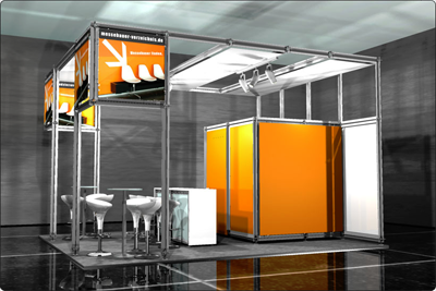 Messestand im Corporate Design mit modularem Messesystem